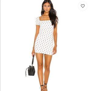 Black and white polka dot mini dress